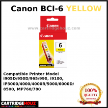 Canon BCI-6 (Yellow) (14 ml) ink For i905D/950D/965/990, i9100, iP3000/4000/4000R/5000/6000D/8500, MP760/780