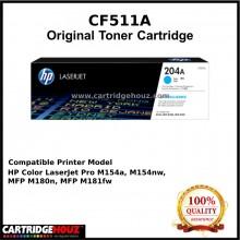 [GENUINE] ORIGINAL HP CF511A (204A) (Cyan) (900 pgs) Toner suitable for HP Colour LaserJet Pro M154a / M154nw / MFP M180nw / M180n / M181fw Printer