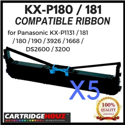 5 units Compatible Panasonic KX-P180 / 181 Ribbon for Panasonic KX-P1131 / 181 / 180 / 190 / 3926 / 1668 / DS2600 / 3200