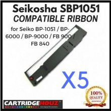 [ 5 units ] Compatible Seikosha SBP1051 Ribbon for Seiko BP-1051 / BP-6000 / BP-9000 / FB 900 / FB 840