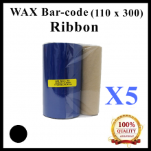 [ 5 units ] Wax Barcode Ribbon (S12) (AO6) ( 110mm x 300m ) for Thermal Transfer Printer Label Tag Print