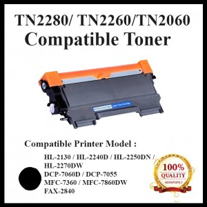 Compatible Brother TN-2280 / TN2280 / TN2260 / TN2060 / TN-2260 / TN-2060 Toner Cartridge For Brother HL-2130 / DCP-7055 / HL-2240D / HL-2250DN / HL-2270DW / DCP-7060D / MFC-7360 / MFC-7860DW / FAX-2840