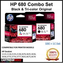 [GENUINE] ORIGINAL HP 680 Black & Tri-color Single Pack (1BK+1C) for HP DeskJet 1115/1118/ 2135/2138/2676/ 3635/3636/3638/3775/3776/3777/3835/ 4675/4678