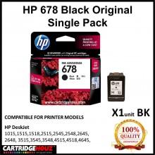 [GENUINE] Original HP 678 Black Single Pack [HP678] for HP DeskJet 1015/1515/1518/ 2515/2545/2548/2645/2648/ 3515/3545/3548/ 4515/4518/4645