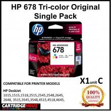 [GENUINE] Original HP 678 Tri-color Single Pack for HP DeskJet 1015/1515/1518/2515/2545/2548/2645/2648/ 3515/3545/3548/4515/4518/4645