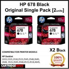 [GENUINE] Original HP 678 Black Single Pack [HP678] [2units BK] for HP DeskJet 1015/1515/1518/ 2515/2545/2548/2645/2648/ 3515/3545/3548/ 4515/4518/4645