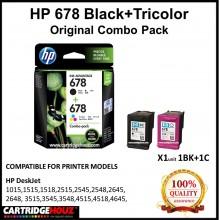 [GENUINE] Original HP 678 Black+Tricolor COMBO PACK for HP DeskJet 1015/1515/1518/ 2515/2545/2548/2645/2648/ 3515/3545/3548/ 4515/4518/4645