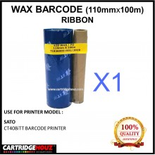 Wax Barcode Ribbon ( S20 ) ( 110mm x 100m ) Use For SATO CT408iTT Barcode Printer  / Thermal Transfer Printer Label Tag Print
