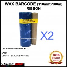 [ 2 Units ] Wax Barcode Ribbon ( S20 ) ( 110mm x 100m ) Use For SATO CT408iTT Barcode Printer  / Thermal Transfer Printer Label Tag Print