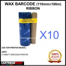 [ 10 Units ] Wax Barcode Ribbon ( S20 ) ( 110mm x 100m ) Use For SATO CT408iTT Barcode Printer  / Thermal Transfer Printer Label Tag Print