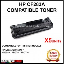 [5 Units ] Value Pack Compatible HP CF283A (83A) (1.6K pgs) Toner Cartridge FOR HP LaserJet Pro MFP M125nw/M127fn/M127fw
