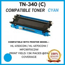 Compatible Brother TN340 / TN-340 Cyan Toner Cartridge (TN-340 C)  for Brother HL-4150CDN / HL-4570CDW / MFC9970CDW Printer