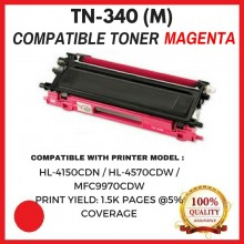 Compatible Brother TN340 / TN-340 Magenta Toner Cartridge (TN-340 M)  for Brother HL-4150CDN / HL-4570CDW / MFC9970CDW Printer