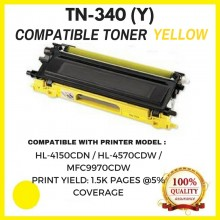 Compatible Brother TN340 / TN-340 Yellow Toner Cartridge (TN-340 Y)  for Brother HL-4150CDN / HL-4570CDW / MFC9970CDW Printer