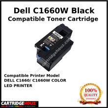 Compatible Dell C1660w / C1660 Black Toner Cartridge (1.25K PGS) for DELL C1660/ C1660W COLOR LED PRINTER