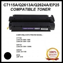 Compatible HP C7115A (15A) / Q2613A (13A) / Q2624A (24A) / CANON EP25 Toner  For HP LaserJet 1000 / 1200 / 1220 / 3080 / 3300 / 3310 / 3320 / 3330 / 3380 / 3385 Printer