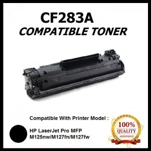 Compatible HP CF283A (83A) / 83A / 283A Toner For HP Laser Jet Pro MFP M125 / M127 / M127fn /  MFP M225dw / M225dn Printer