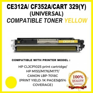 [ Optional Color ]Compatible HP CF350A ( 130A ) / CE310A  ( 126A ) / CANON CART 329 Toner Cartridge For HP CLJ CP1025/ Pro 100 MFP M175/M275/HP M153/M176/M177/Canon LBP-7018C