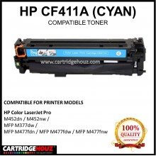 Compatible HP CF411A (410A) (Cyan)  Laser Toner Cartridge for HP Color LaserJet Pro M452dn / M452nw / MFP M377dw / MFP M477fdn / MFP M477fdw / MFP M477fnw Printer