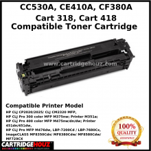 Compatible HP CC530A ( 304A ) / CE410A (305A) / CF380A (312A) / CANON CART 318 / CANON CART 418 ( Black ) Toner Cartridge