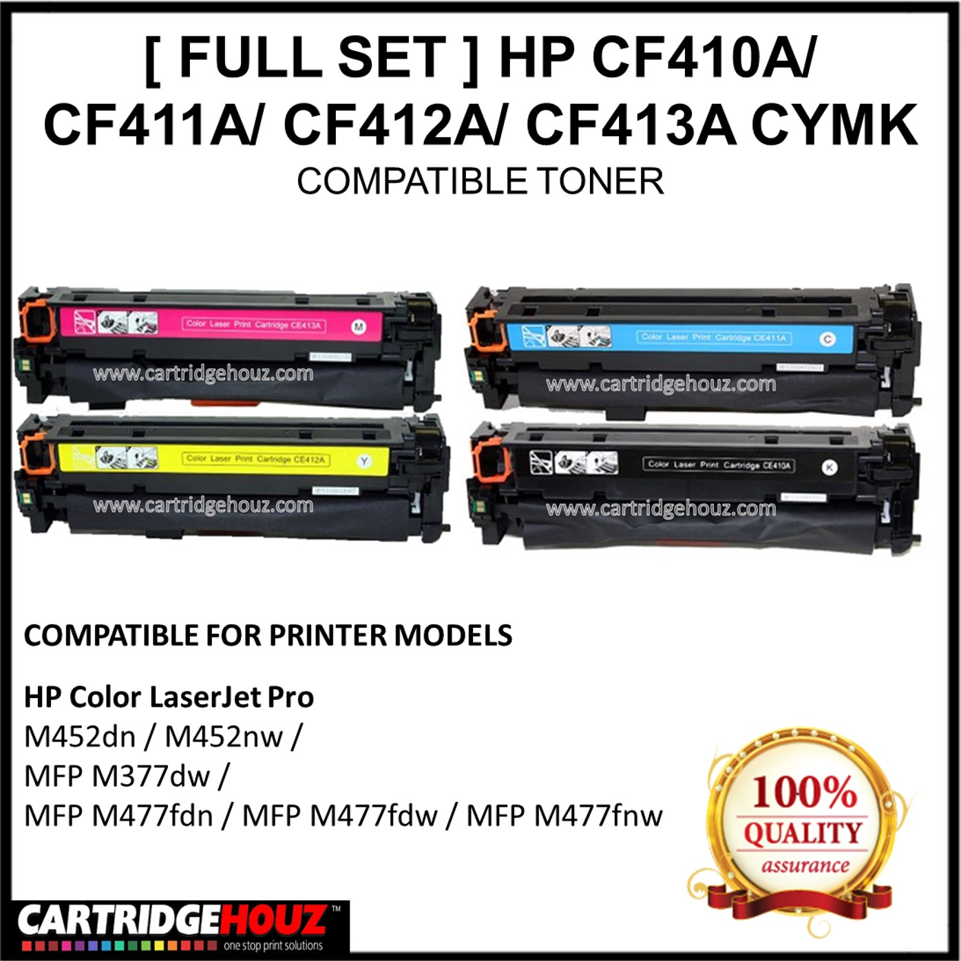 Printer Supplies Compatible with HP CF410X Toner Cartridges Applicable Machines HP Color Laserjet Pro M452dw//M452nw//M452dn//M477fnw//MFP M477fdw Laser printer-4colors